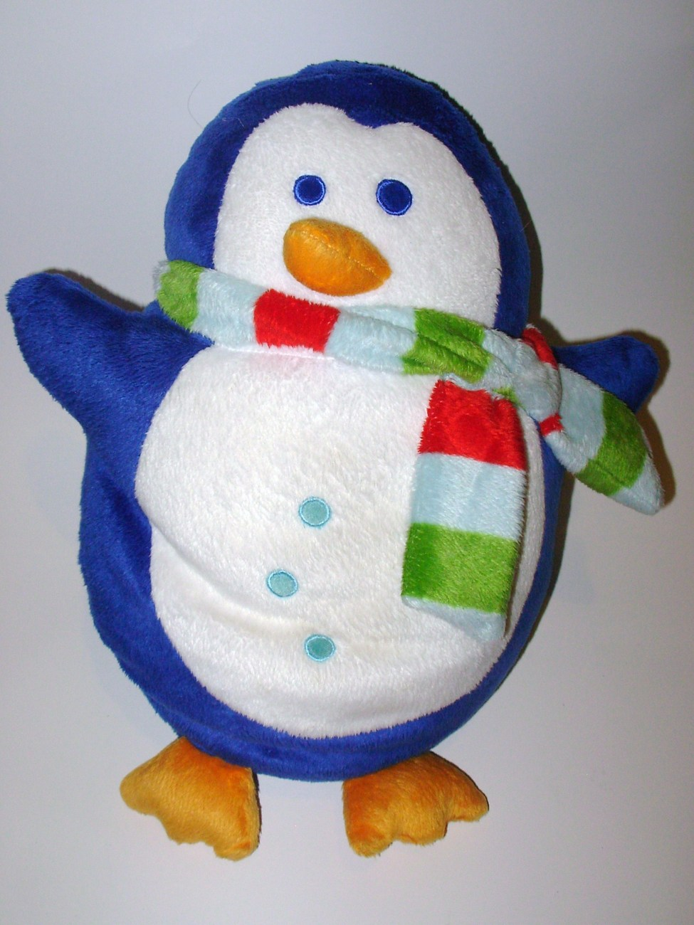 Blue White Penguin Microbead Pillow Plush Stuffed Animal Scarf Winter Christmas