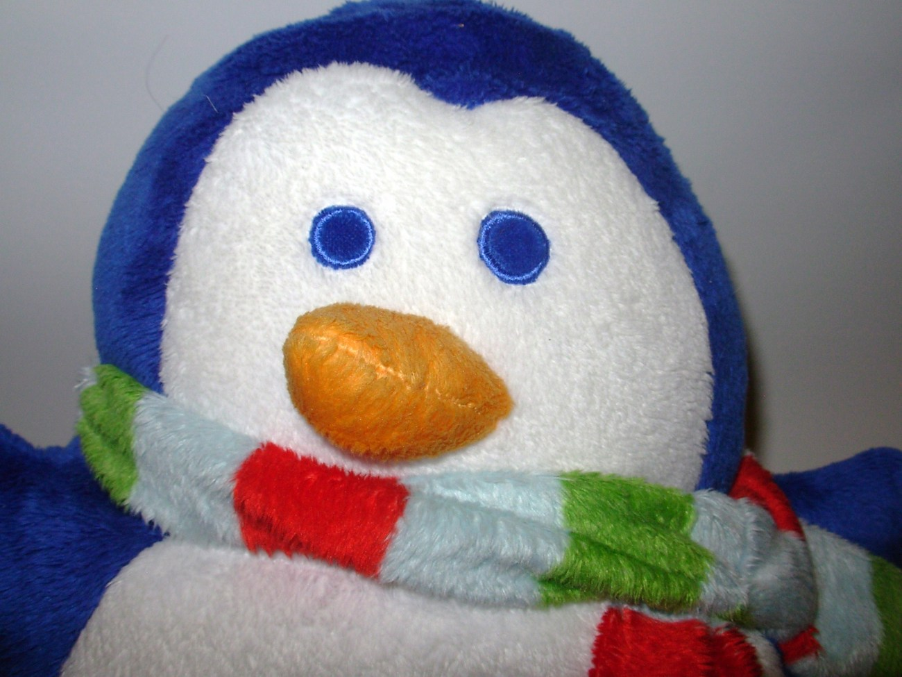 Animal Microbead Pillows : Blue White Penguin Microbead Pillow Plush Stuffed Animal Scarf Winter Christmas - Other
