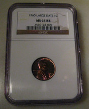 Beautiful RAINBOW TONED LINCOLN 1960 LARGE DATE 1c 1960 NGC Graded MS 64... - $69.69