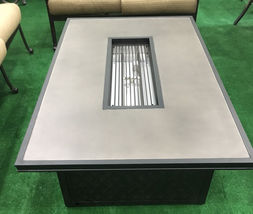 Propane fire pit table coffee height rectangular outdoor cast aluminum patio image 2