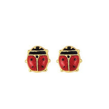 "14K Gold  Plated Earrings  Lady Bug Screw Back  ""ON SALE"" - $17.63"