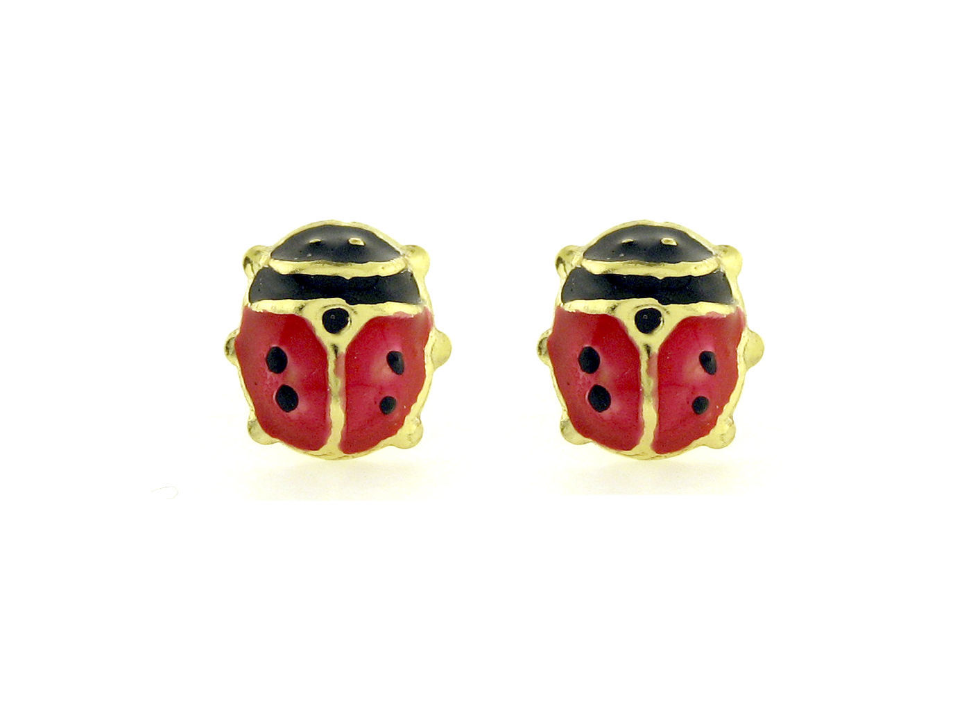 "14K Gold  Plated Earrings  Lady Bug Screw Back  ""ON SALE"""