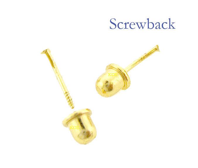 14k Gold Earrings Diamond Cut Ball Stud Screw Back  3.1 MM  ON SALE