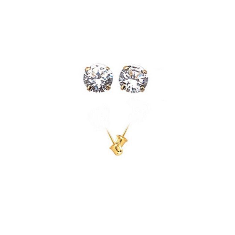 14K Gold Stud Screw Back Earrings 7.2 mm for Children,Woman,Man ON SALE image 2