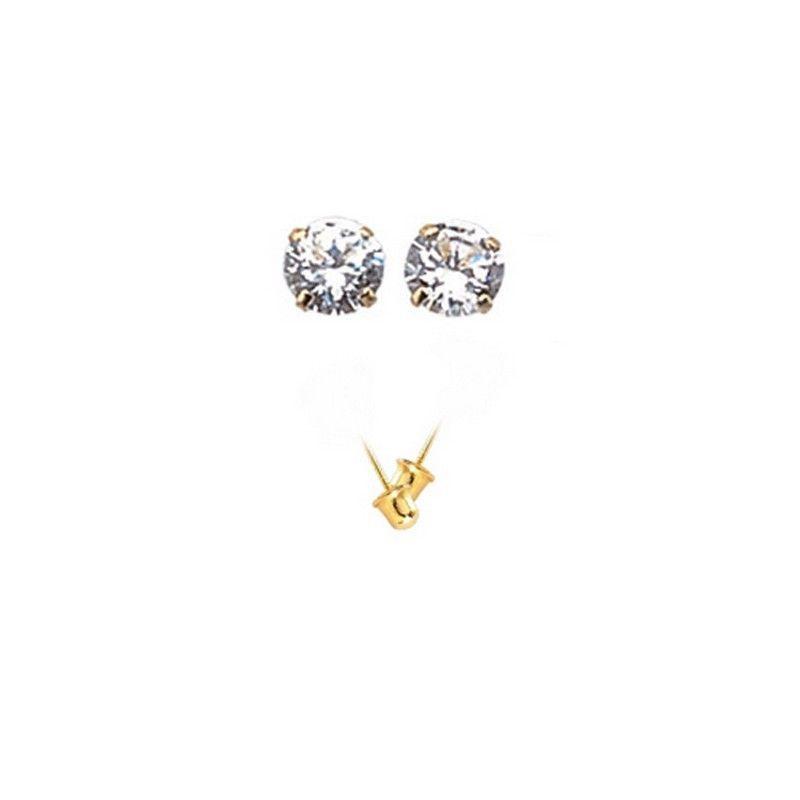14K Gold Stud Screw Back Earrings 7.2mm  ON SALE image 2