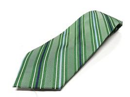 IZOD Green & Blue Striped 100% Silk Men's Neck Tie Made in China - $24.70