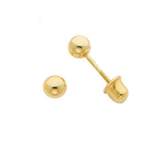 14k Gold Earrings Ball Stud Screw Back Earrings for Children Adults 7mm  ON SAL