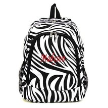 Personalized Black ZEBRA LARGE School Bag Backpack Monogram Embroidery Name - $15.09+