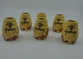 "6 Jim Beam Honey Bee Hive Ceramic Novelty Shot Glasses 2 1/2"" Tall EUC  - $24.99"