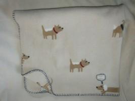 Gymboree Doggy wants a Bone Dog Puppy Blanket Brown Tan Cream Blue Dachs... - $49.49
