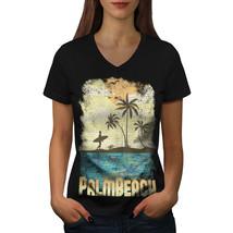 Palm Beach Holiday Shirt Florida USA Women V-Neck T-shirt - $12.99+
