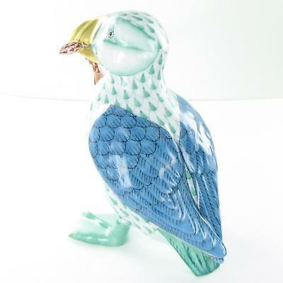 """Herend Puffin Fish in Mouth Green Fishnet Hungary Porcelain 4.75"""" VHV-15480"""