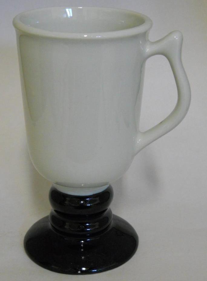 Hall 1272 ~ White & Black Pedestal Coffee Cup Mug ~ Made In U.S.A.