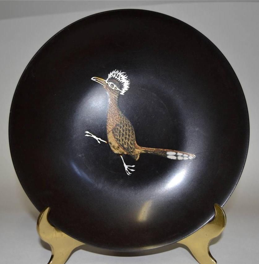 Couroc of Monterey ~ 2 Phenolic Inlaid Bowls ~ Road Runner & Cardinal image 2