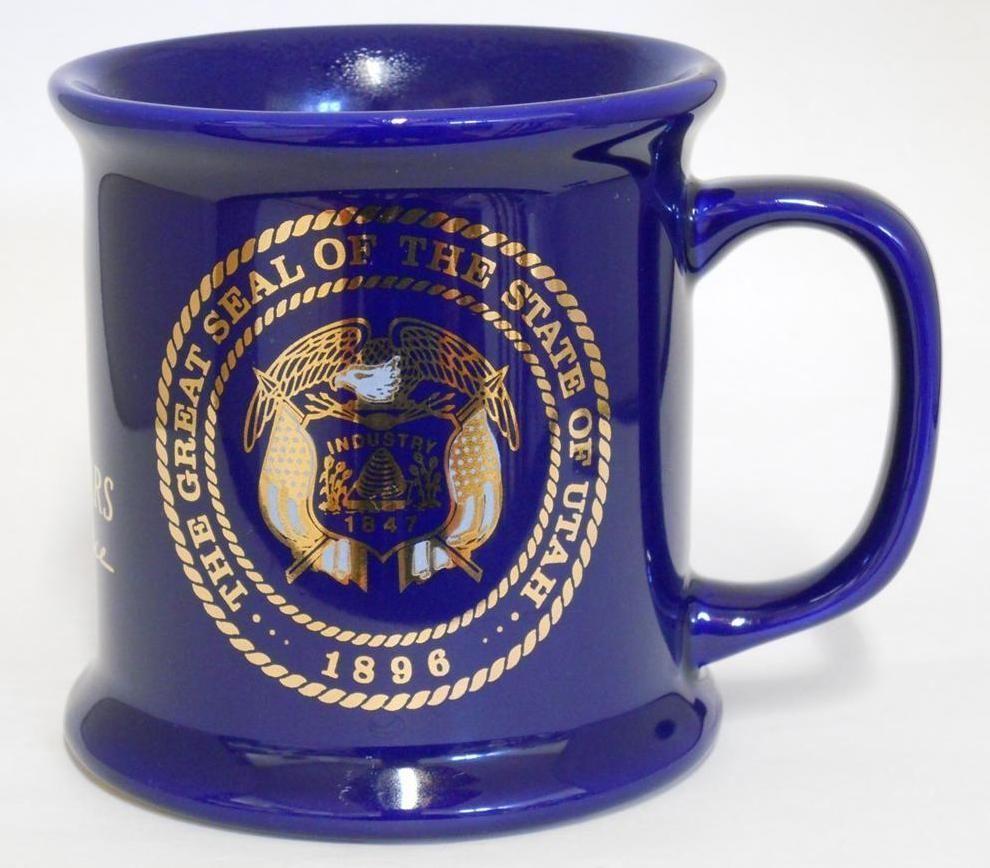 The Great Seal Of Utah ~ National Guard Utah Centennial ~ Cobalt Blue Cup Mug