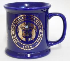 The Great Seal Of Utah ~ National Guard Utah Centennial ~ Cobalt Blue Cup Mug image 1