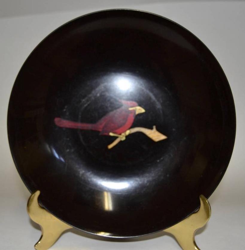 Couroc of Monterey ~ 2 Phenolic Inlaid Bowls ~ Road Runner & Cardinal image 6
