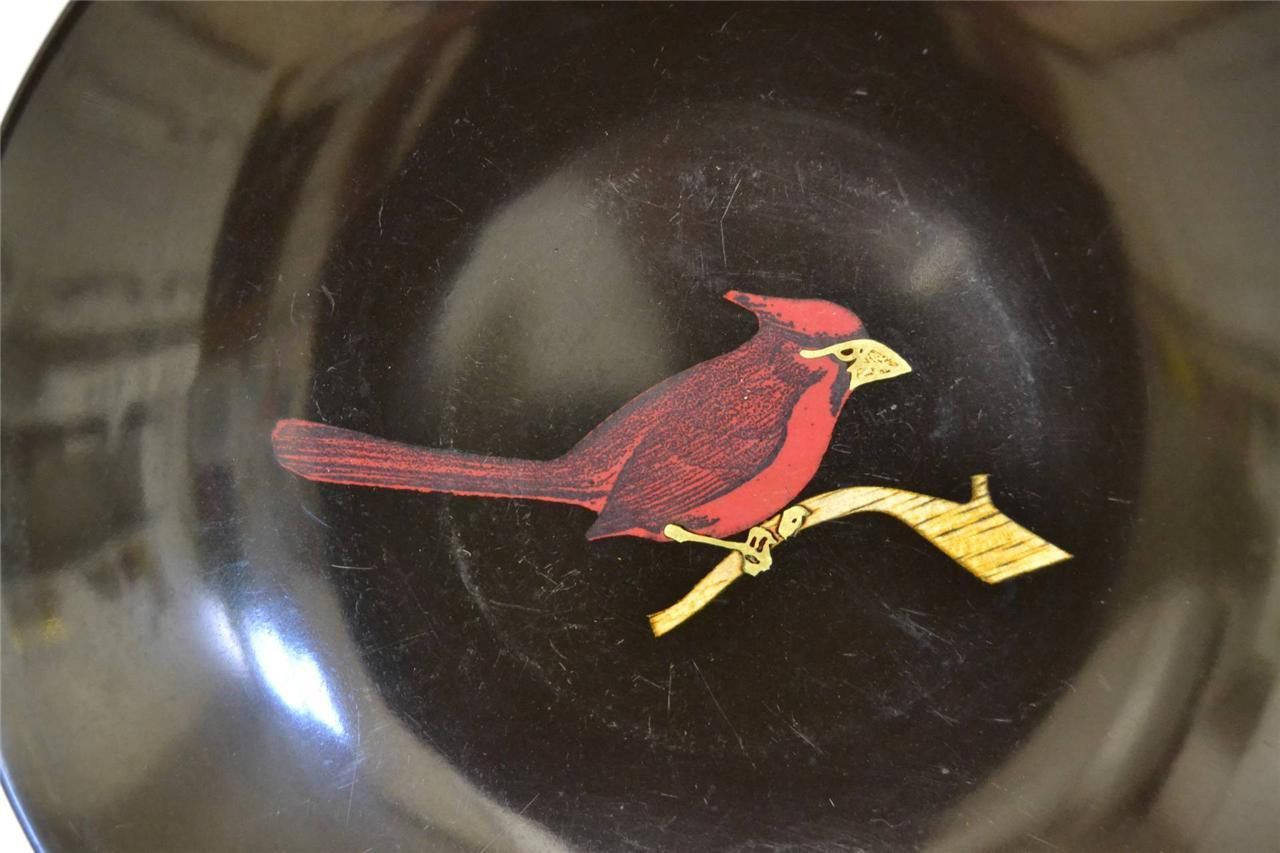 Couroc of Monterey ~ 2 Phenolic Inlaid Bowls ~ Road Runner & Cardinal image 7