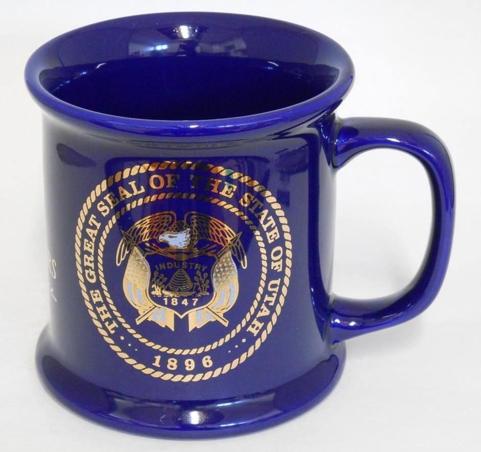 The Great Seal Of Utah ~ National Guard Utah Centennial ~ Cobalt Blue Cup Mug image 4