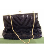 Walbaeg Beaded Purse Black 6 inches Wide - $9.99