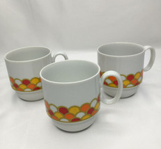 MCM Georges Briard Carousel Cups Scallop Orange Yellow Made in Japan - $20.89