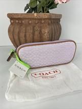 New Coach Eyeglass Case Jacquard Lilac Mini Signature Tan Leather F60156... - $78.39