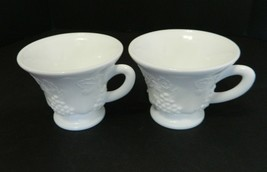 Indiana Glass Harvest Grape Milk Glass Footed Cups Punch Cups Snack Cups... - $12.86