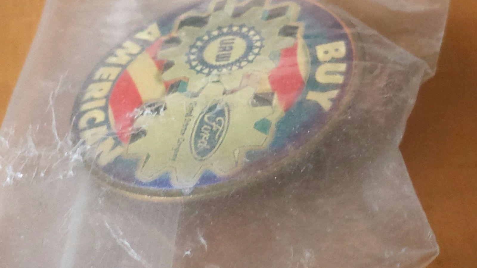 "Vintage Buy American UAW Ford Lapel Pin 1 1/4"" Diameter"