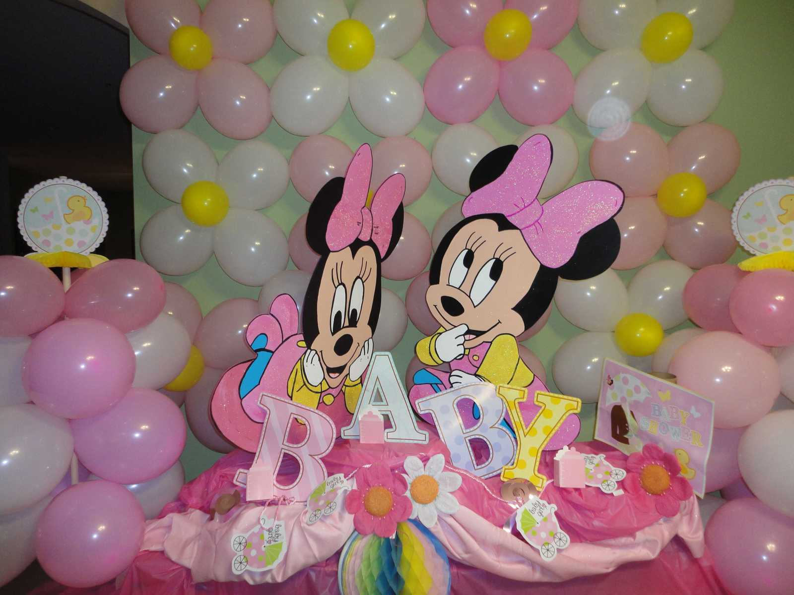 Baby Shower Decorations Centerpiece Baby Minnie Mickey Wood Photo Props - One