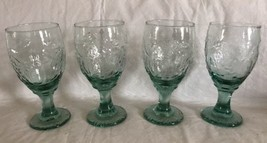 "Libbey Green Orchard Fruit Green Set of 4 Water Goblets Glasses Spanish 7"" 16 oz - $34.99"