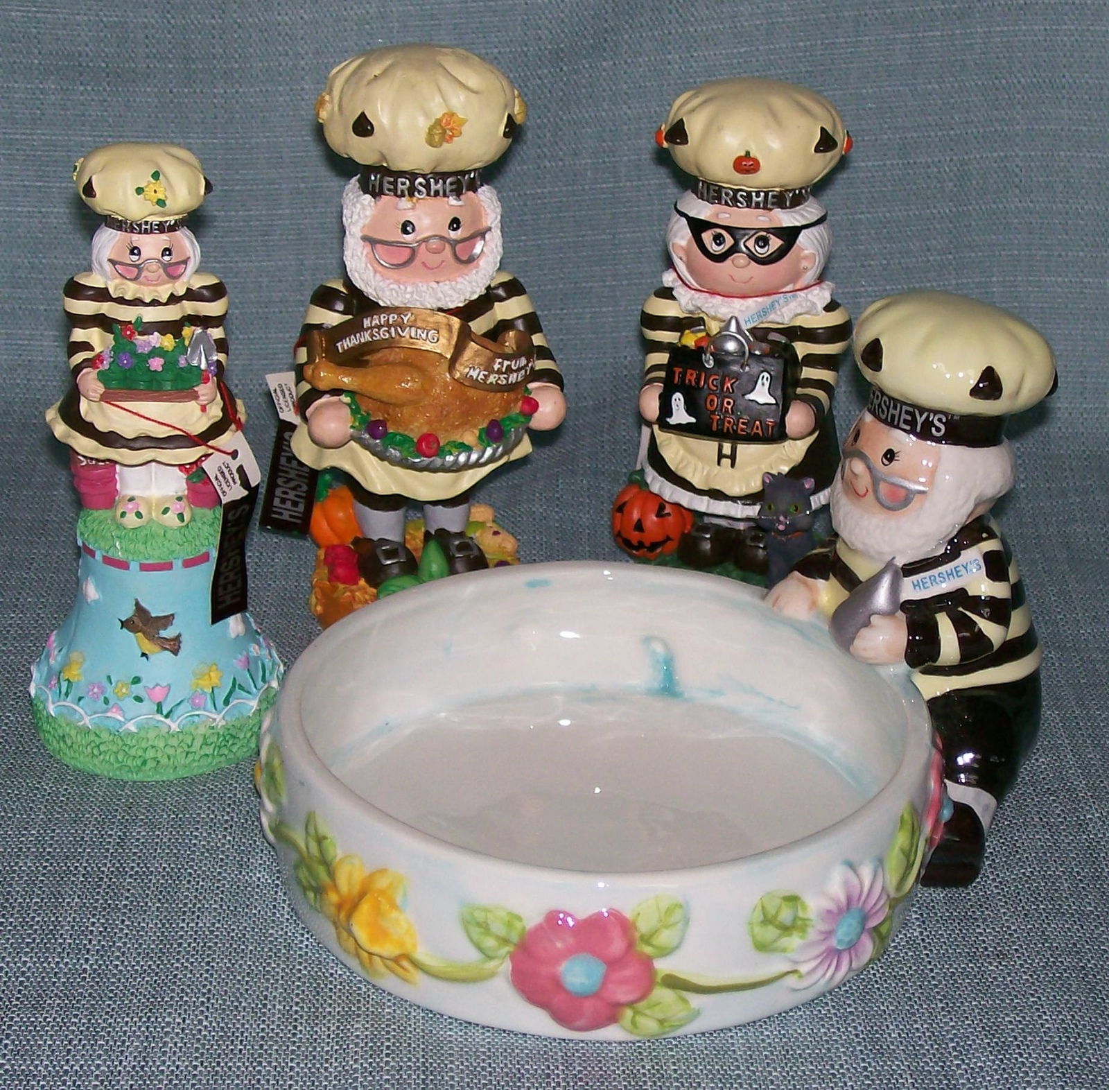 Hershey Collectibles-Spring Bell / Candy Dish, Thanksgiving, Halloween Figurines