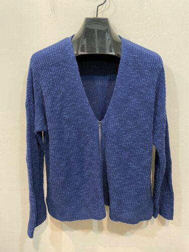 Eileen Fisher Blue Large Knit Cardigan Sweater Zip Front Organic Linen Cotton