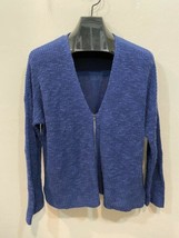 Eileen Fisher Blue Large Knit Cardigan Sweater Zip Front Organic Linen Cotton image 1