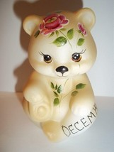 Fenton Glass December Birthday Dark Pink Rose BEAR Figurine GSE K Barley #4 - $115.92