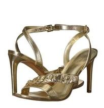 Michael Kors Tricia Sandal Heels Pale Gold Metallic Leather Size 8 MSRP ... - $56.99