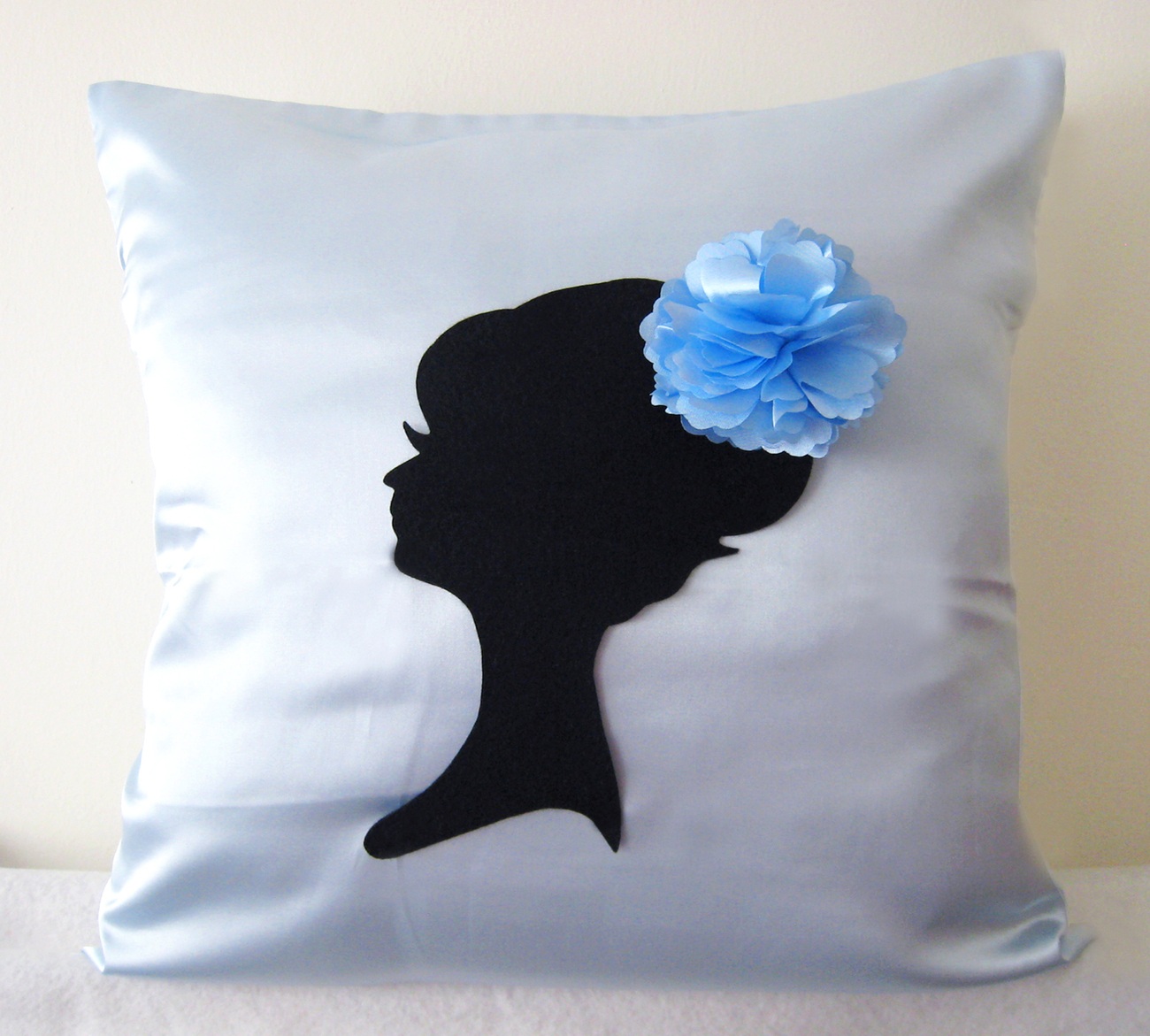 Primary image for Handmade Elegant Lady Light Blue And Decorative Pillow Cover. Girls Room Decor