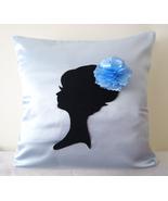Handmade Elegant Lady Light Blue And Decorative Pillow Cover. Girls Room... - $40.90