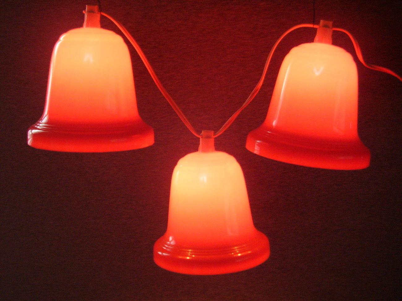 Vintage Noma Lighted Christmas Bells Red Plastic 4ft cord - Lights