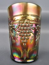 Carnival Glass - Northwood GRAPE & CABLE Green Tumbler 4838 - $32.85