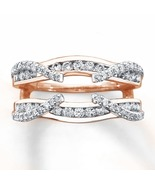 1.20 Ct Diamond 14K Rose Gold Finish Solitaire Enhancer Wrap Wedding Ban... - $88.98