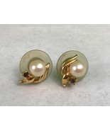 Vintage Gold Tone Imitation Pearls Gemstone Pierced Earrings Gift Collec... - $4.80