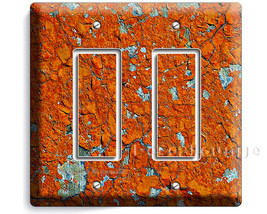 worn out rusted patina rust cracked rustic metal art decor double GFCI light swi - $10.99