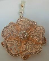 Vintage Signed RMN Rare Magnetic Rhinestone Filigree Floral Pendant - $45.00