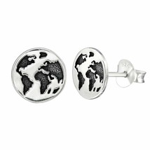 925 Sterling Silver - Earth Planet Stud Earrings World Women Men Kid Acc... - $14.00