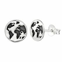 925 Sterling Silver - Earth Planet Stud Earrings World Women Men Kid Acc... - £6.87 GBP