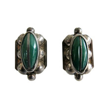 Vintage Mexican Silver & Green Onyx  Screw Back Earrings - $32.00