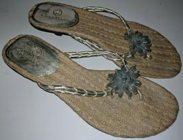 Cole Haan Mindi Jeweled Flower  Heel Thong Silver Sandals Women's 6 - $24.74