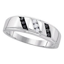 Sterling Silver Mens Round Black Color Enhanced Diamond Wedding Ring 1/4... - £105.07 GBP