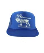 Vintage 80s Colorado Elk Spell Out Roped Trucker Hat Snapback Cap Royal ... - £27.78 GBP