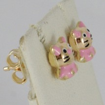 18K YELLOW GOLD KIDS EARRINGS GLAZED PINK ROUNDED CAT, BUTTERFLY, MADE IN ITALY image 2